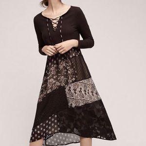 Maeve black long sleeve lace up patchwork dress